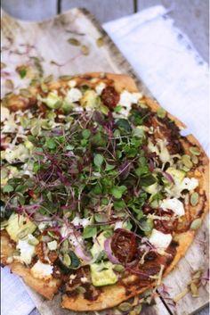 Zucchini Tomato and Feta Pizza with Micro Greens