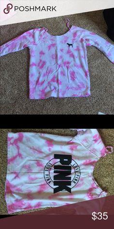 Pink Tye dye XS crew top PINK Victoria's Secret Tops Sweatshirts & Hoodies