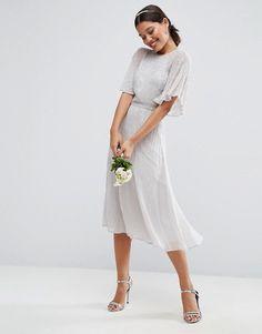 ASOS | Платье миди с рукавами-бабочка и отделкой ASOSWEDDING