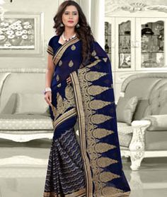 Buy Navy Blue Faux Georgette Wedding Saree 75777 with blouse online at lowest…