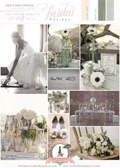 Sage Green, White Anemones & Mecury Glass Wedding Inspiration