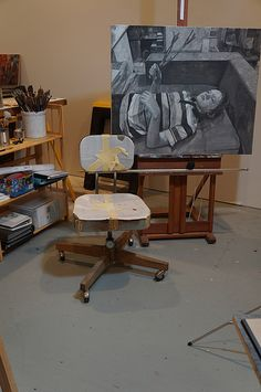Amy Huddleston Studio, with painting of Steve