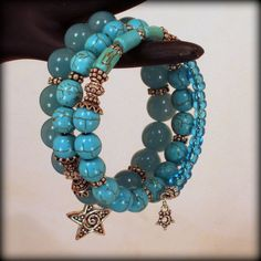 Bali Sterling Silver Blue Jade and Turquoise  by BlooMoonJewelry, $108.00