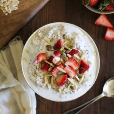 These filling breakfast bowls can be eaten hot or cold - they're the adult version of those Strawberries & Creme oatmeal packets!