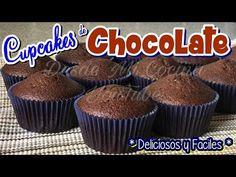 CUPCAKES DE CHOCOLATE -Receta Base para el pan-    DESDE MI COCINA by Lizzy - YouTube Chocolates, Chocolate Cupcakes, Cupcake Recipes, Muffins, Menu, Cookies, Breakfast, Youtube, Food