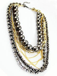 Black Crystal Bead Gold Chain Necklace
