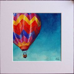 "SALE Original Hot Air Balloon Ink Painting, Matted ""Up Up and Away"", 10"" x 10"""