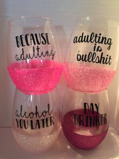 This is a custom item Sassy and fun wine glasses They are individually or a set Different color of glitter available 9 50 each Funny Wine Glasses, Glitter Wine Glasses, Stemless Wine Glasses, Painted Wine Glasses, Custom Wine Glasses, Diy Glasses, Decorated Wine Glasses, Glitter Tumblers, Birthday Wine Glasses