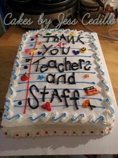 Teachers appreciation cake