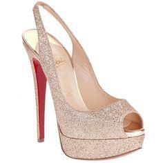 Sparkley, Coloured Underside -Christian Louboutin Lady Peep 150 Glitter Sandal