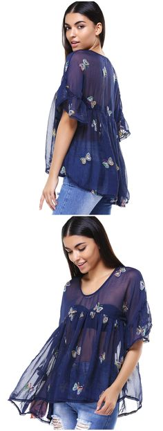 Fashion Cami Top and Butterfly Print V-Neck T-Shirt Twinset For Women Children Projects, Beauty Tips, Hair Beauty, Plus Size T Shirts, Xl Fashion, Sammy Dress, Butterfly Print, Cami Tops, Baby Accessories