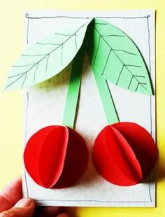Paper Cherries : Cherries, what else could we use this with? Summer Crafts, Fall Crafts, Diy And Crafts, Arts And Crafts, Paper Crafts, Projects For Kids, Diy For Kids, Crafts For Kids, Kindergarten Crafts