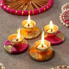 Metal Diya Set With Gota Work Gift Send Diwali Gifts Online Diwali Decoration Lights, Thali Decoration Ideas, Door Hanging Decorations, Diwali Decorations At Home, Festival Decorations, Kalash Decoration, Table Decorations, Diwali Candle Holders, Diwali Candles