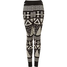 TOPSHOP Large Aztec Knitted Leggings (€21) ❤ liked on Polyvore featuring pants, leggings, bottoms, jeans, black, cotton leggings, cotton trousers, aztec leggings, cotton pants and aztec print pants