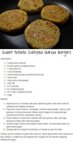 Sweet Potato Chickpea Quinoa Burgers.