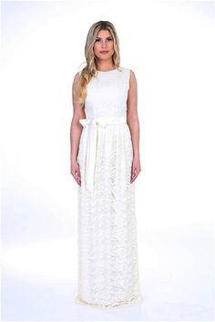 White Off Lace Wedding Baptism Engagement Maxi Women Dress Round Neckline Sleeveless Sash #white #wedding #maxi #long #dress #gown #bride #bridal #fashion #style #lace #sash