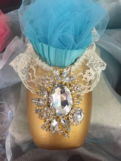 Turquoise and Gold vintage lace pointe shoe. Decor and gift item for the dancer in your life.