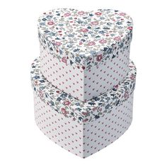 GreenGate Storage box heart Ruby petit white set of 2 Jingle Bell, Kids C, Bella Rose, And So The Adventure Begins, Small Storage, Winter Collection, Decorative Boxes, Quilt, Heart