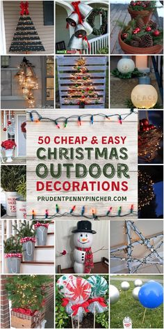 50 Cheap & Easy DIY Outdoor Christmas Decorations - Happy Christmas - Noel 2020 ideas-Happy New Year-Christmas Outside Christmas Decorations, Diy Christmas Ornaments, Simple Christmas, Christmas Lights, Christmas On A Budget, Outdoor Christmas Tree Decorations, Christmas Ideas, Fence Decorations, Cheap Christmas Diy Gifts