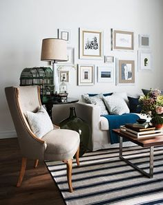 Re-upholstered old chair, repainted end table and photoframes, simple ikea couch. - Home Decor Living Room - Living Room Table Living Room Photos, Living Room On A Budget, Chic Living Room, Home And Living, Living Room Decor, Living Spaces, Condo Living, Small Living, Bedroom Decor