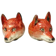 Pair of antique figures of fox head stirrup cups, Staffordshire pottery c1820