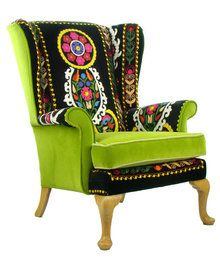 Vintage Parker Knoll Wing Back Suzani Armchair