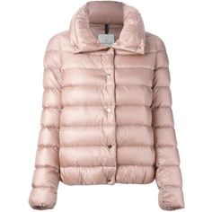 Moncler 'Plessis' padded jacket ($1,015) ❤ liked on Polyvore featuring outerwear, jackets, zip front jacket, moncler, pink jacket, quilted jacket and pink straight jacket
