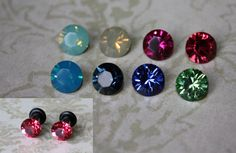 Swarovski crystal stainless steel plugs / tunnels for gauges / stretched ears MUST HAVE EVERY COLOR!