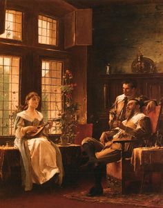 Mihaly von Munkacsy Art Reproduction- A Tender Chord, Oil Painting Reproduction of Munkacsy Medieval Music, Victor Vasarely, Great Paintings, Oil Paintings, Oil Painting Reproductions, Old Master, Art Music, Vintage Art, Character Art