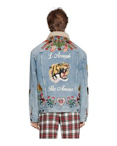 d59328529f Embroidered denim jacket with shearling Denim Jacket With Patches
