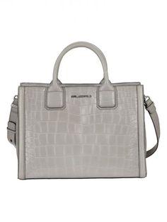 KARL LAGERFELD Grey Croco Tote. #karllagerfeld #bags #shoulder bags #hand bags #leather #tote #
