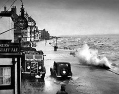 """Merseyside again a spring high tide at Parkgate Wirral. A fine ERF dray delivers essential brew through salt spray"" Liverpool City Centre, Liverpool Town, Liverpool History, History Of Photography, Street Photography, In Memory Of Dad, Local History, Family History, Vintage Trucks"