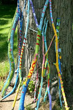 walking sticks - good for SPRING time! Add twine, beads, and connect to Native American culture?Cute walking sticks - good for SPRING time! Add twine, beads, and connect to Native American culture? Camping Activities, Camping Crafts, Activities For Kids, Nature Activities, Joseph Activities, Outdoor Art, Outdoor Play, Outdoor Decor, Art For Kids