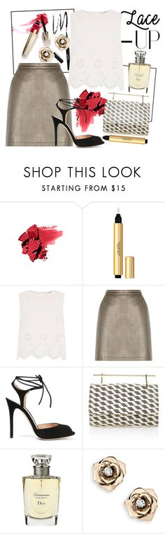 """""""Lace Up"""" by shellcp ❤ liked on Polyvore featuring Nordstrom, Yves Saint Laurent, River Island, Gianvito Rossi, M2Malletier, Christian Dior and Piaget"""