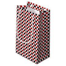 Checkered Red-White-Black-Gift Bag, small Small Gift Bag #zazzle #checkered #giftbags http://www.zazzle.com/zazzleparty?rf=238170457442240176