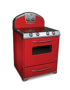 Manufactured in Ontario - Northstar Range - Model 1954 - All-Electric Range in Candy Red - High-speed infinite-control elements under a ceramic top provide quick, uniform heat, precise cooking and easy clean-up. Heat to the elements is automatically reduced in the event of a pot boiling dry. Elements are rated at 1500, 2000 and 2500 watts -  timer, delayed bake and delayed self-clean functions. Also comes in white, black, that green, etc - Suggested Retail Price  $4195.00 - Oh well!