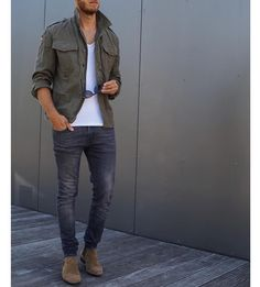 Military green jacket jeans and #chelseaboot by @berndhower [ http://ift.tt/1f8LY65 ] www.viraltimez.com