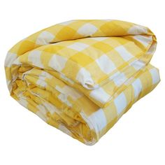 Featuring a buttercup-yellow gingham check motif, this charming cotton duvet cover adds a pop of color to your master suite or guest room.  ...