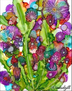 Flower bouquet in alcohol inks                              …