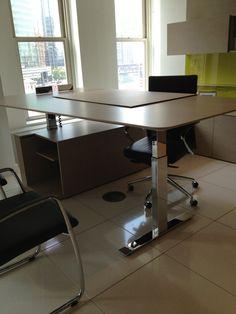Haworth Showroom Suite casegoods with adjustable height desk