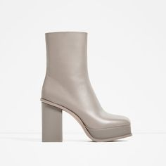ZARA - WOMAN - LEATHER ANKLE BOOTS WITH LINED PLATFORM