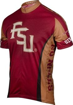 SEMINOLE FANS put miles on the road and REPRESENT WHILE YOU RIDE in this officially licensed garment from Adrenaline Promotions.  Fully sublimated road bike jersey with raglan sleeves, ¾ length hidden zipper for ventilation, and three rear cargo pockets for great storage on longer rides.  Moisture wicking Dri-Sport fabric helps pull sweat away from your body and regulate temperature.  Available in sizes S – XXL $79.99 - FREE SHIPPING   FLORIDA STATE - JERSEY