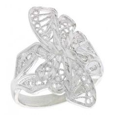 Sterling Silver Butterfly Filigree Ring, 7/8 inch.