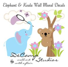 """Elephant and Koala Wall Art Mural Decal for baby girl nursery or children's room decor. """"Butterfly catching in the Spring"""" #decampstudios"""