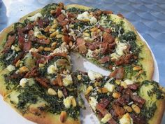 Bacon & Spinach Pizza with Goat Cheese & Pine Nuts   Udi's® Gluten Free Bread