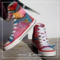 Pink Dragon Custom Sneakers Handpainted Shoes. #HandpaintedShoes #CustomSneakers