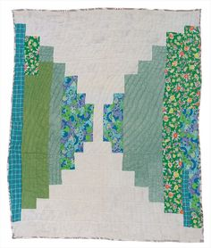 """Loretta Pettway - """"Log Cabin""""—single block """"Courthouse Steps"""" variation (local name: """"Bricklayer"""") - Master Image"""