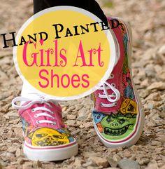 Girls Fun Hand Painted Art Shoes #HandPainted #KidsFashion #ShoeLover
