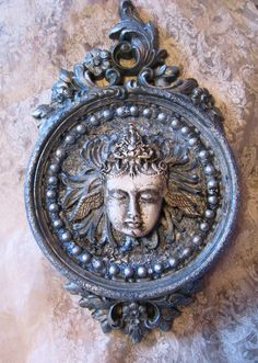 Goddess of the Moon wall hanging handmade face by inthewillows, $40.00