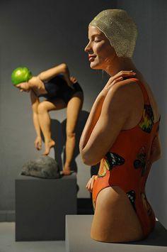 Beautiful hyperrealistic, painted sculptures of female swimmers by Carol Feuerman | Creative Boom